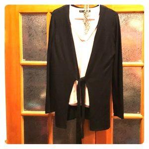 H by Halston lt.weight tie front black sweater xs